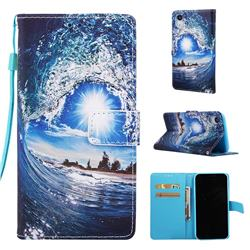 Waves and Sun Matte Leather Wallet Phone Case for iPhone Xr (6.1 inch)