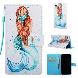 Mermaid Matte Leather Wallet Phone Case for iPhone Xr (6.1 inch)