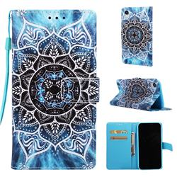 Underwater Mandala Matte Leather Wallet Phone Case for iPhone Xr (6.1 inch)