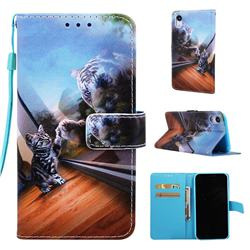 Mirror Cat Matte Leather Wallet Phone Case for iPhone Xr (6.1 inch)