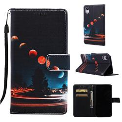 Wandering Earth Matte Leather Wallet Phone Case for iPhone Xr (6.1 inch)
