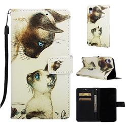 Cat Confrontation Matte Leather Wallet Phone Case for iPhone Xr (6.1 inch)