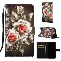 Black Rose Matte Leather Wallet Phone Case for iPhone Xr (6.1 inch)