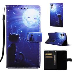 Cat and Moon Matte Leather Wallet Phone Case for iPhone Xr (6.1 inch)