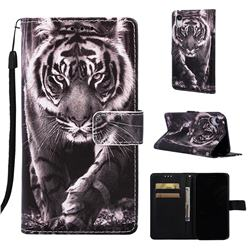 Black and White Tiger Matte Leather Wallet Phone Case for iPhone Xr (6.1 inch)