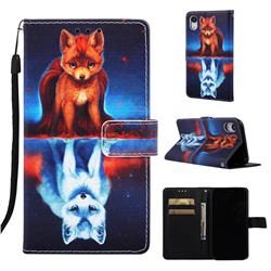 Water Fox Matte Leather Wallet Phone Case for iPhone Xr (6.1 inch)