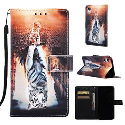 Cat and Tiger Matte Leather Wallet Phone Case for iPhone Xr (6.1 inch)