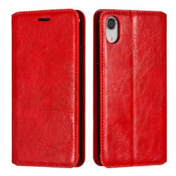 Retro Slim Magnetic Crazy Horse PU Leather Wallet Case for iPhone Xr (6.1 inch) - Red