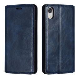 Retro Slim Magnetic Crazy Horse PU Leather Wallet Case for iPhone Xr (6.1 inch) - Blue