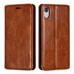 Retro Slim Magnetic Crazy Horse PU Leather Wallet Case for iPhone Xr (6.1 inch) - Brown