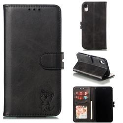 Embossing Happy Cat Leather Wallet Case for iPhone Xr (6.1 inch) - Black
