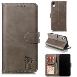 Embossing Happy Cat Leather Wallet Case for iPhone Xr (6.1 inch) - Gray