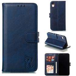 Embossing Happy Cat Leather Wallet Case for iPhone Xr (6.1 inch) - Blue