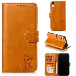 Embossing Happy Cat Leather Wallet Case for iPhone Xr (6.1 inch) - Yellow