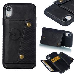 Retro Multifunction Card Slots Stand Leather Coated Phone Back Cover for iPhone Xr (6.1 inch) - Black