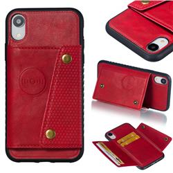 Retro Multifunction Card Slots Stand Leather Coated Phone Back Cover for iPhone Xr (6.1 inch) - Red