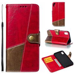 Retro Magnetic Stitching Wallet Flip Cover for iPhone Xr (6.1 inch) - Rose Red