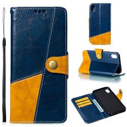 Retro Magnetic Stitching Wallet Flip Cover for iPhone Xr (6.1 inch) - Blue