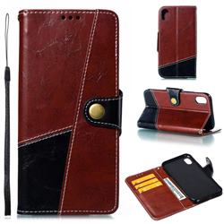 Retro Magnetic Stitching Wallet Flip Cover for iPhone Xr (6.1 inch) - Dark Red