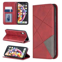 Prismatic Slim Magnetic Sucking Stitching Wallet Flip Cover for iPhone Xr (6.1 inch) - Red