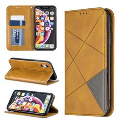Prismatic Slim Magnetic Sucking Stitching Wallet Flip Cover for iPhone Xr (6.1 inch) - Yellow