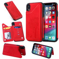 Luxury Tree and Cat Multifunction Magnetic Card Slots Stand Leather Phone Back Cover for iPhone Xr (6.1 inch) - Red