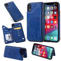 Luxury Tree and Cat Multifunction Magnetic Card Slots Stand Leather Phone Back Cover for iPhone Xr (6.1 inch) - Blue