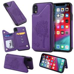 Luxury Tree and Cat Multifunction Magnetic Card Slots Stand Leather Phone Back Cover for iPhone Xr (6.1 inch) - Purple