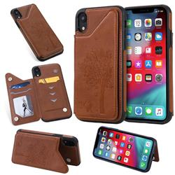 Luxury Tree and Cat Multifunction Magnetic Card Slots Stand Leather Phone Back Cover for iPhone Xr (6.1 inch) - Brown