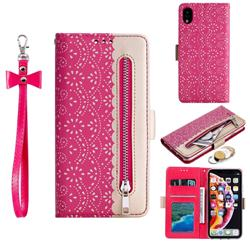 Luxury Lace Zipper Stitching Leather Phone Wallet Case for iPhone Xr (6.1 inch) - Rose