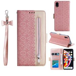 Luxury Lace Zipper Stitching Leather Phone Wallet Case for iPhone Xr (6.1 inch) - Pink