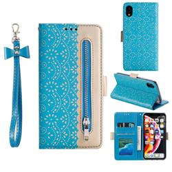 Luxury Lace Zipper Stitching Leather Phone Wallet Case for iPhone Xr (6.1 inch) - Blue