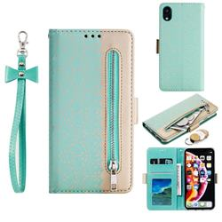 Luxury Lace Zipper Stitching Leather Phone Wallet Case for iPhone Xr (6.1 inch) - Green