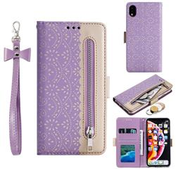 Luxury Lace Zipper Stitching Leather Phone Wallet Case for iPhone Xr (6.1 inch) - Purple