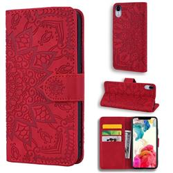 Retro Embossing Mandala Flower Leather Wallet Case for iPhone Xr (6.1 inch) - Red