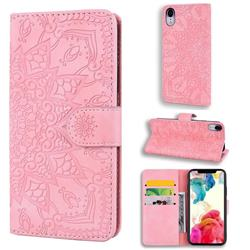 Retro Embossing Mandala Flower Leather Wallet Case for iPhone Xr (6.1 inch) - Pink