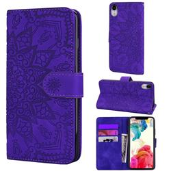Retro Embossing Mandala Flower Leather Wallet Case for iPhone Xr (6.1 inch) - Purple