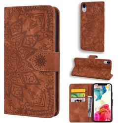 Retro Embossing Mandala Flower Leather Wallet Case for iPhone Xr (6.1 inch) - Brown
