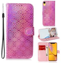 Laser Circle Shining Leather Wallet Phone Case for iPhone Xr (6.1 inch) - Pink
