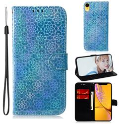 Laser Circle Shining Leather Wallet Phone Case for iPhone Xr (6.1 inch) - Blue