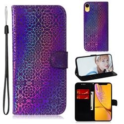 Laser Circle Shining Leather Wallet Phone Case for iPhone Xr (6.1 inch) - Purple