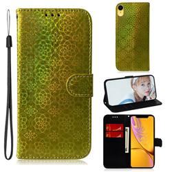 Laser Circle Shining Leather Wallet Phone Case for iPhone Xr (6.1 inch) - Golden