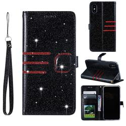Retro Stitching Glitter Leather Wallet Phone Case for iPhone Xr (6.1 inch) - Black