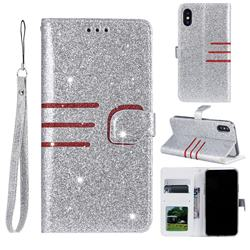 Retro Stitching Glitter Leather Wallet Phone Case for iPhone Xr (6.1 inch) - Silver