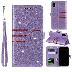 Retro Stitching Glitter Leather Wallet Phone Case for iPhone Xr (6.1 inch) - Purple