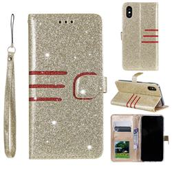 Retro Stitching Glitter Leather Wallet Phone Case for iPhone Xr (6.1 inch) - Golden