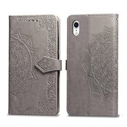Embossing Imprint Mandala Flower Leather Wallet Case for iPhone Xr (6.1 inch) - Gray