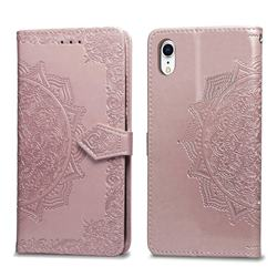 Embossing Imprint Mandala Flower Leather Wallet Case for iPhone Xr (6.1 inch) - Rose Gold