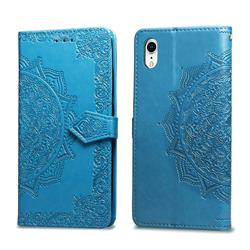 Embossing Imprint Mandala Flower Leather Wallet Case for iPhone Xr (6.1 inch) - Blue