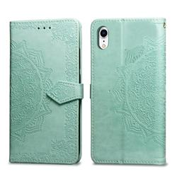 Embossing Imprint Mandala Flower Leather Wallet Case for iPhone Xr (6.1 inch) - Green